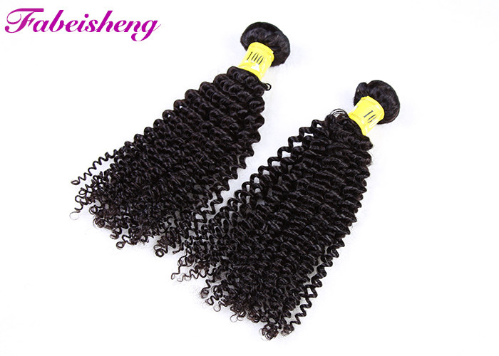 Unprocessed Peruvian Human Hair / Deep Curly Hair Weft For Women